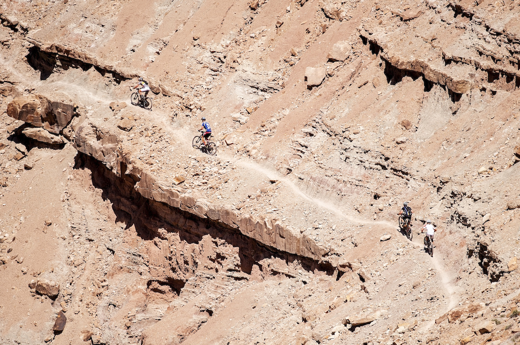 Grand Junction Off-Road riders ascend an exposed section of Andy s Trail Brian Leddy Photography
