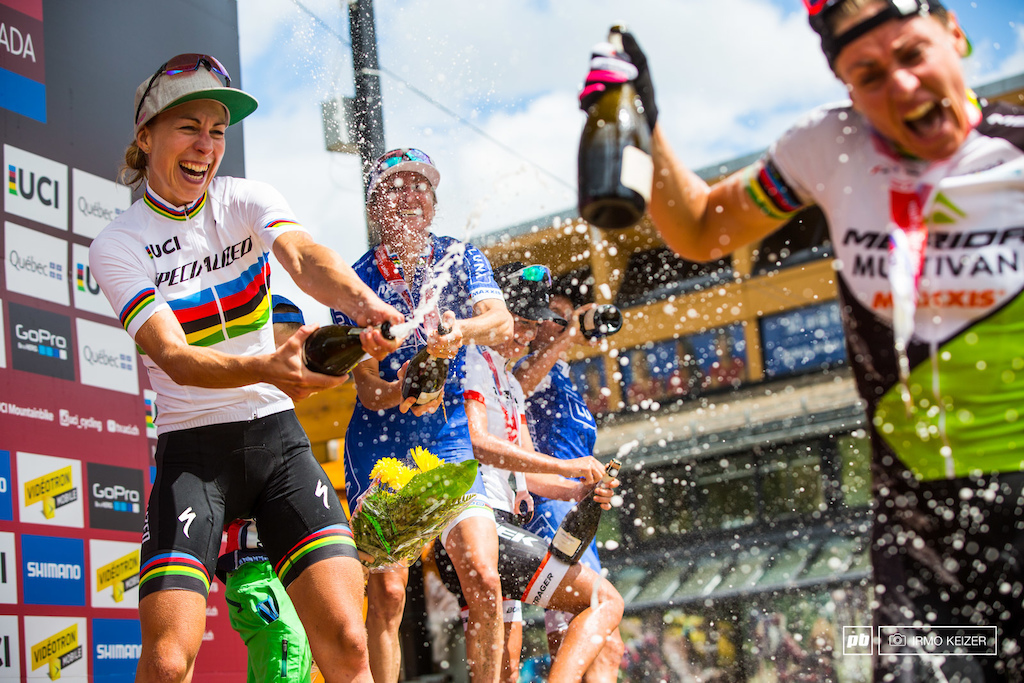 Champagne showers for Gunn-Rita. Annika Langvad and Catharine Pendrel take aim.