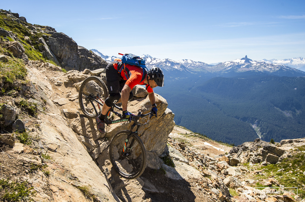 Vernon Felton testing the Santa Cruz Hightower on the Top of the World Trail in Whistler BC