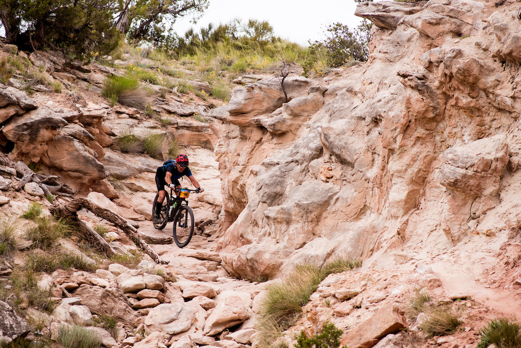 A racer navigates a heinous section of trail on Andy s Loop during the amateur race of the Grand Junction Off-Road Saturday.