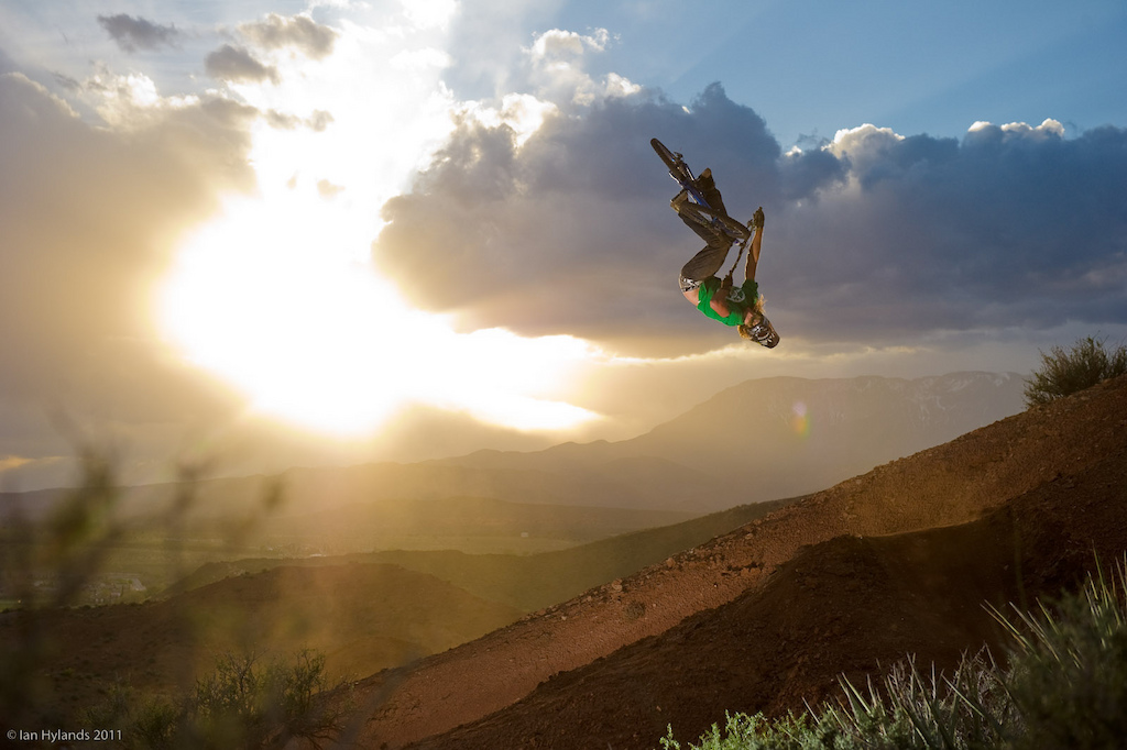 Kelly with a flip table over the desert double, flying into the sunset...