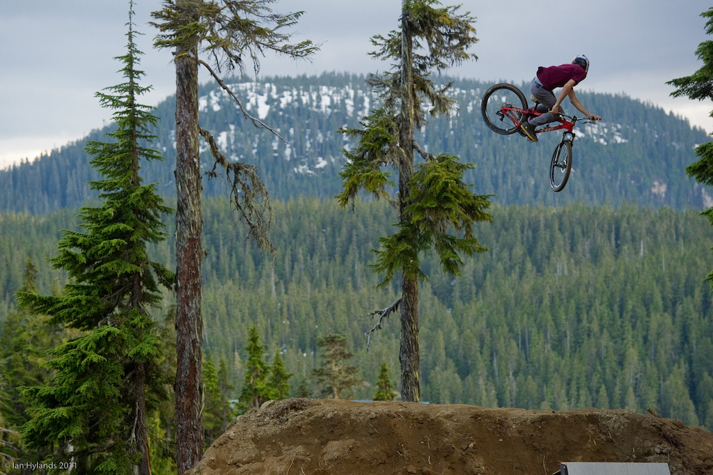Brandon Semenuk whipping huge on the last jump.