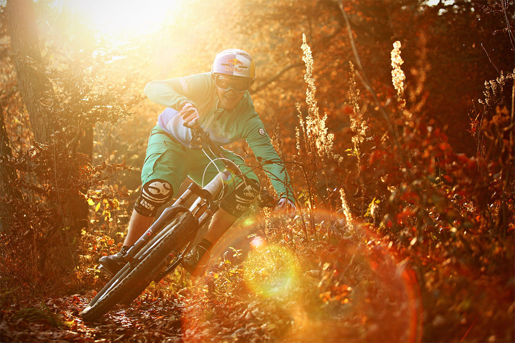 Da Tschugg having fun on his GHOST on a singletrail in the Bavarian outback golden autumn light... I love this time of the year photo c by www.larsscharlphoto.com me