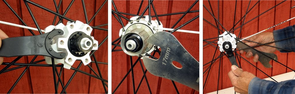 Starting on the rear hub, locate the nubs on the Mavic bearing adjustment tool and note that they engage the inner flange on the left side. The left-side endcap is only held in by an O-ring. If it won't pull off by hand, then slip the 17mm cone wrench over the endcap on the drive-side of the rear axle and then unscrew the bearing adjustment flange. This will press off the left-side cap.