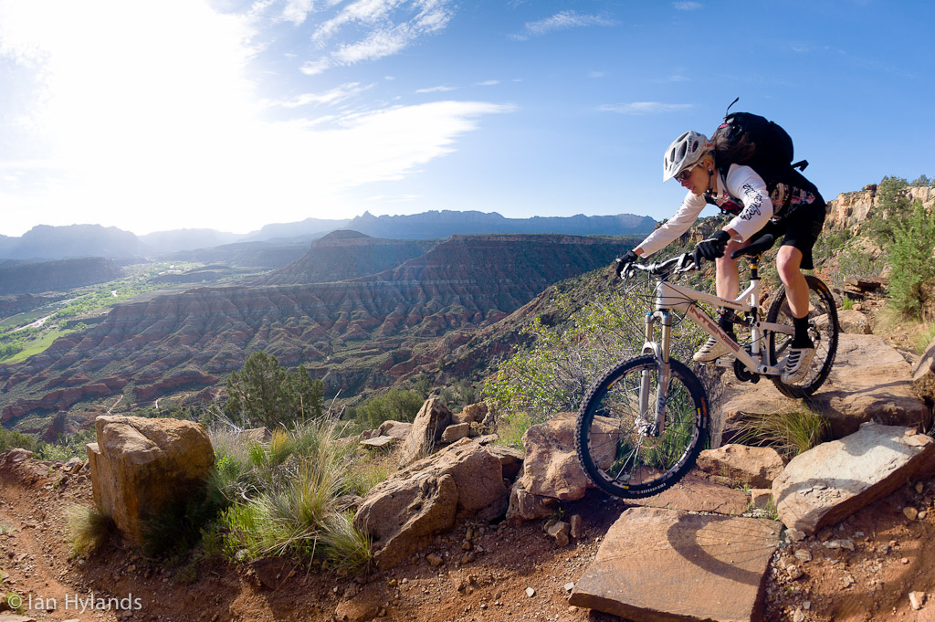 Katrina Strand riding the Grafton Mesa Trail near Rockville in Utah.