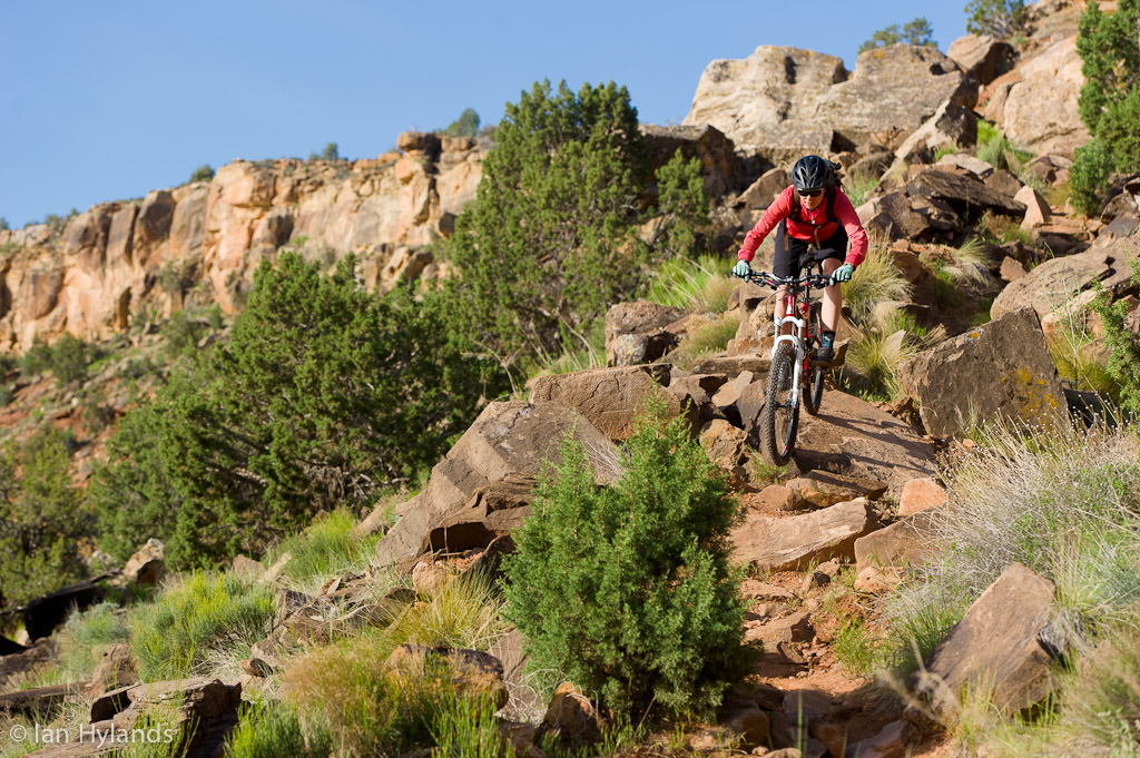 Brook Baker riding the Grafton Mesa Trail near Rockville in Utah.