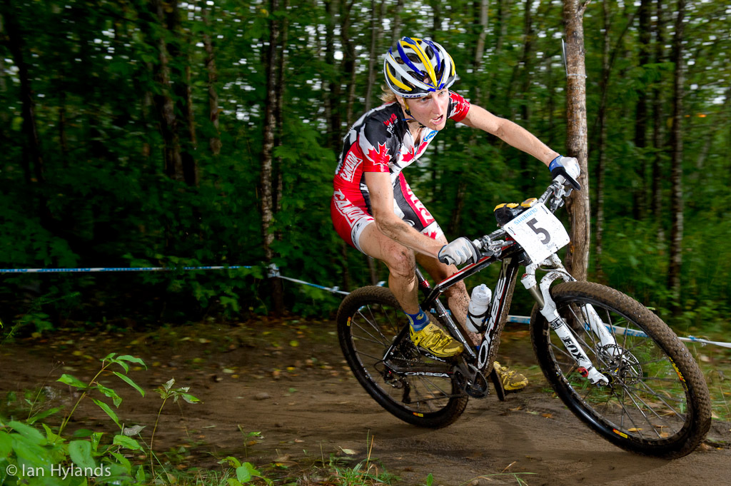 Canada s Catherine Pendrel races the Cross Country at Mountain Bike World Championships at Mt Saint Anne in Quebec.