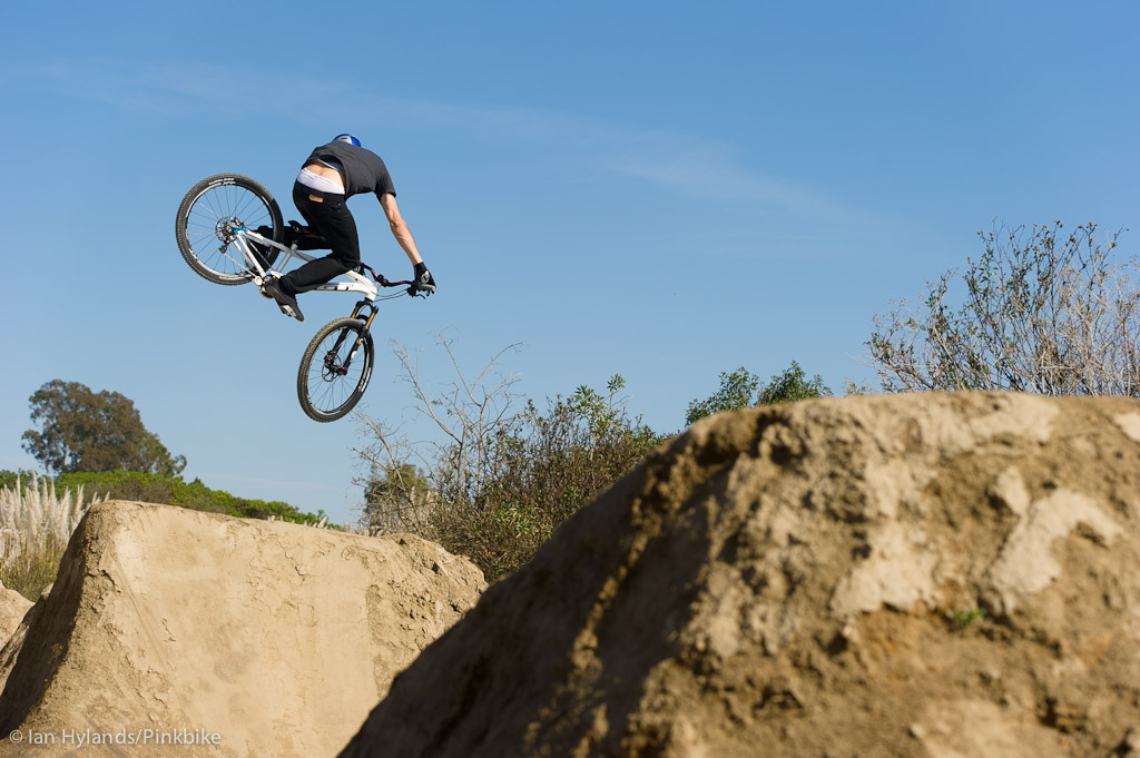Gee Atherton rides his new GT hardtail for the first time at the Sheep Hills Trails in California