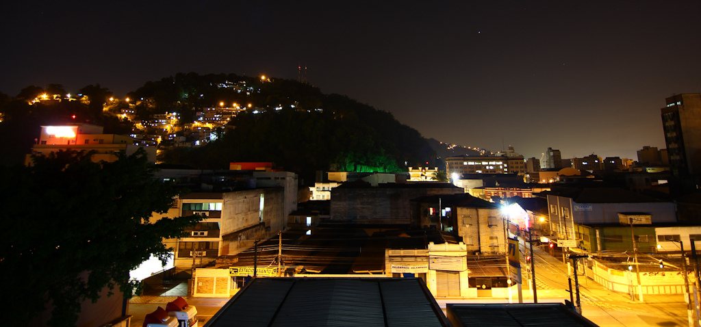 The hill at night time.