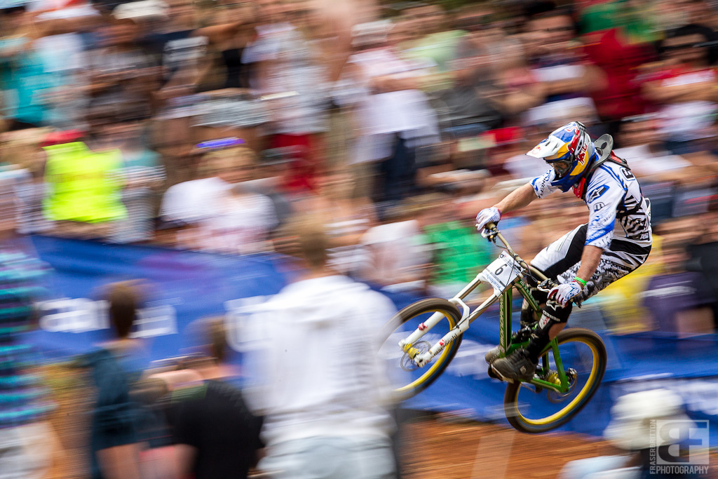 Brook Macdonald flies through the crowd at the Pietermaritzburg UCI World Cup DH