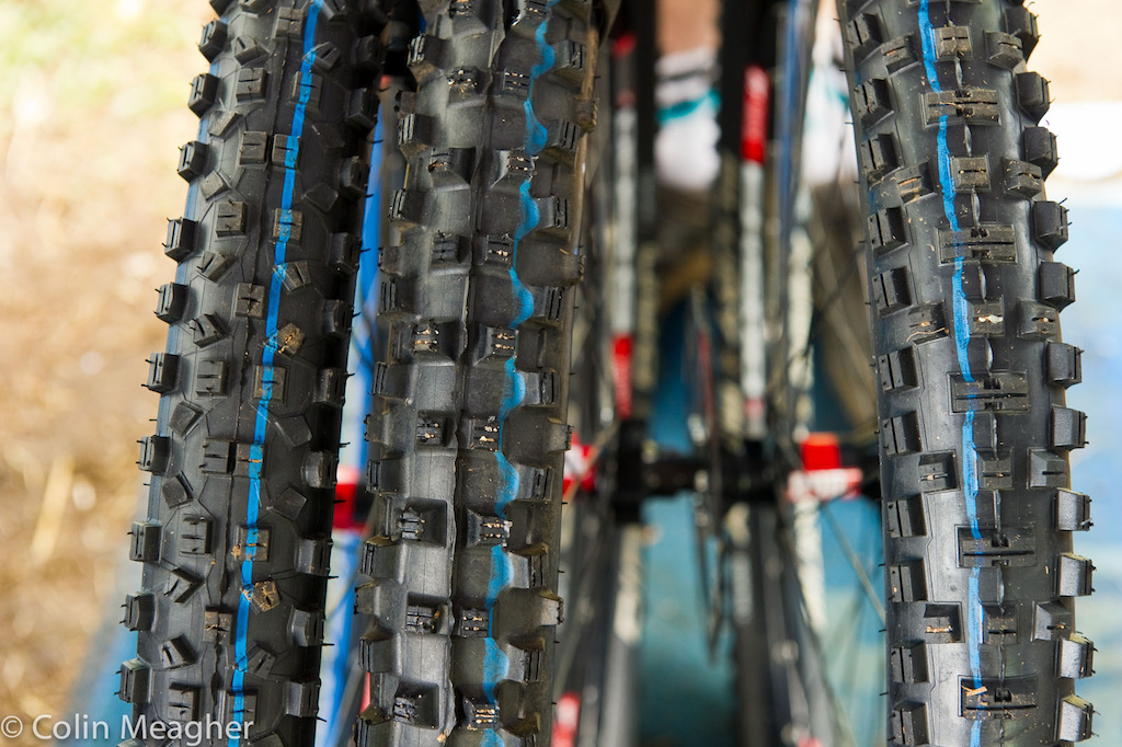 Danny Hart s mechanic had this selection of Schwalbe tires in case the looming clouds again drenched the track Vertstar Hans Dampf Dirty Dan full spike and a Muddy Mary in case it got wet but not drenched.