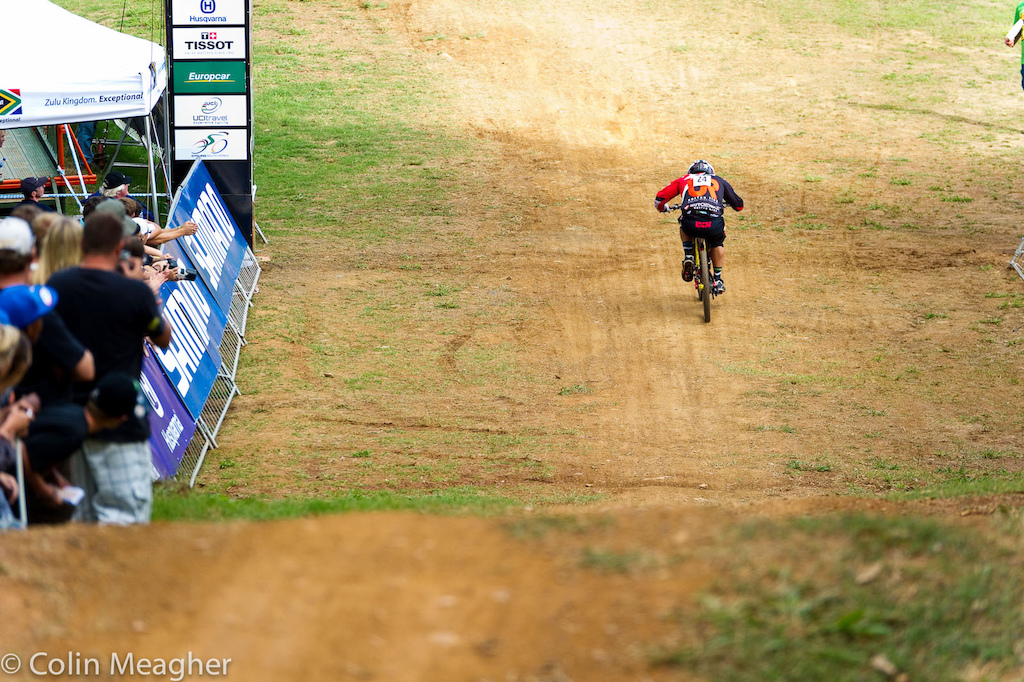 Mick Sik Mik Hannah was making a run at joining his sister atop the podium at the Pietermaritzburg UCI World Cup DH