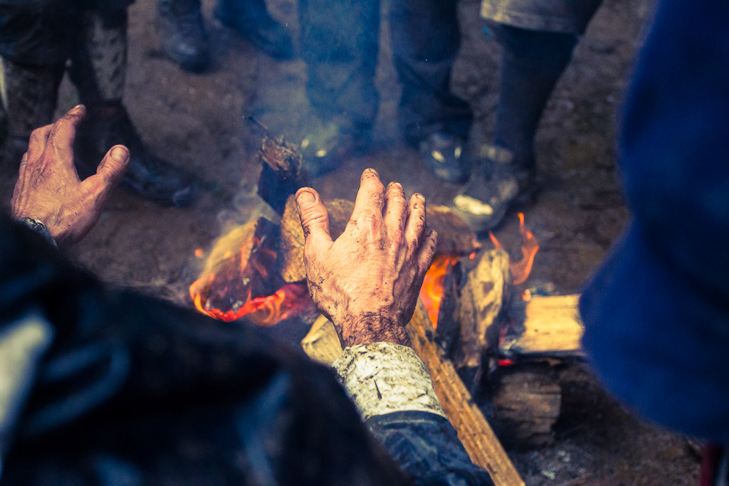 Cold muddy wrinkled up hands say it all. Snow sleet and torrential rain wasn t going to keep anyone away from the North Fork trails this weekend. The community came prepared though with tents a BBQ and plenty of firewood to keep warm.