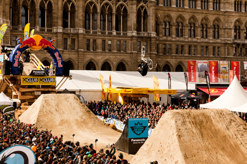 jakub venkl backflip barspin at the 2012 Vienna Air King FMB event.