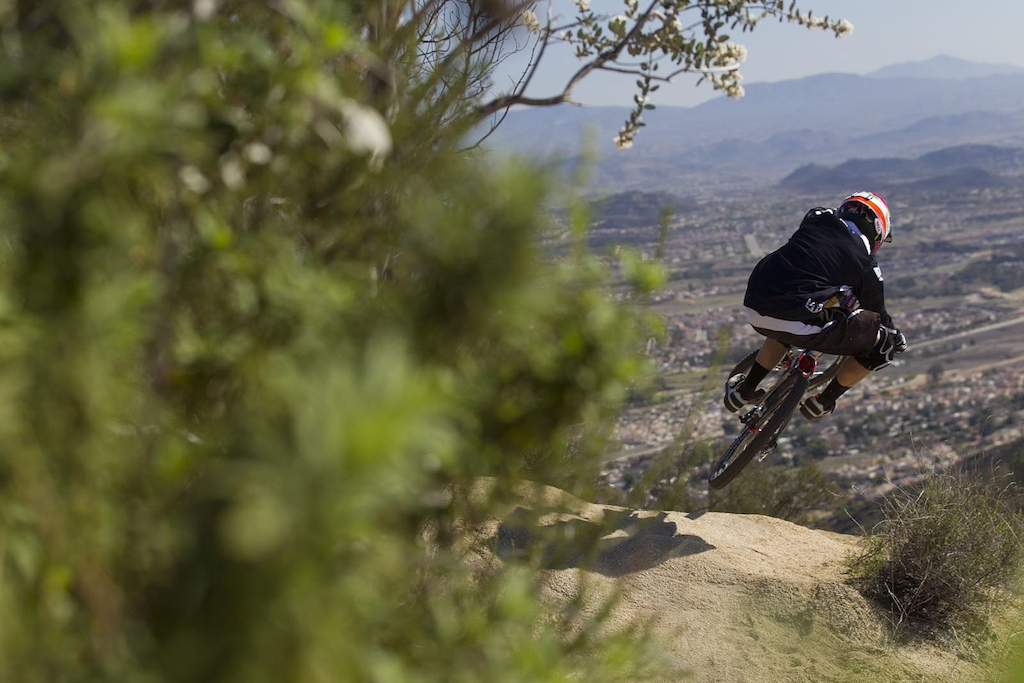 Aaron Gwin testing Saint in his hometown of temecula california january 2012.