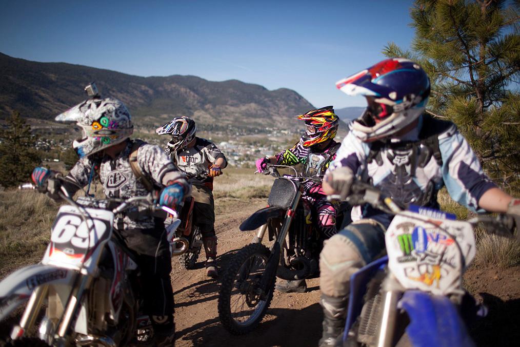 Motorbikers watching TV in Nicola Valley British Columbia
