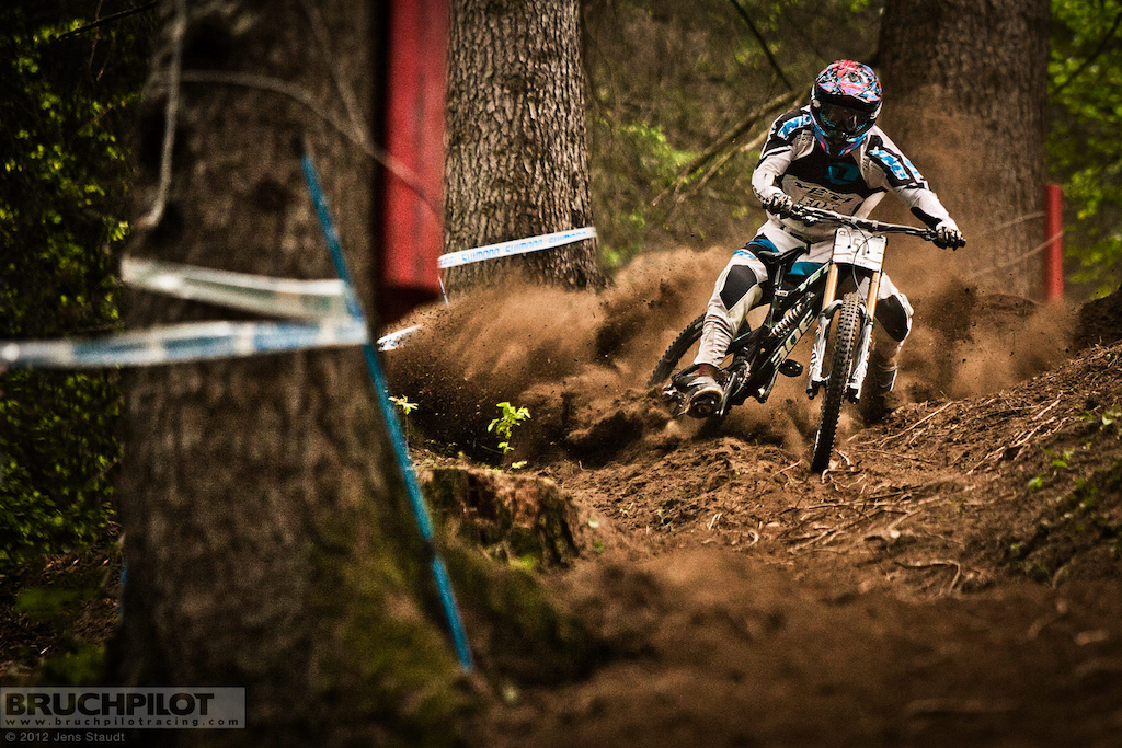 Elliot getting wild in the loose conditions of the worldcuptrack of Val di Sole. www.facebook.com BruchpilotRacing