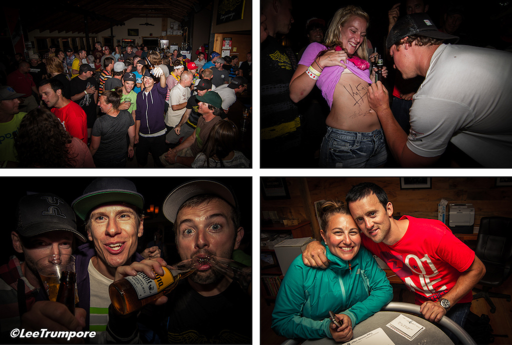 Work is done time to party. Kyle Strait knows how to keep the fans happy. Your media crew for the weekend Pinkbike Vital and Lucent Productions with some well deserved beers . Kara and Aaron Chase high-five to both f them for all the work they put into this event. Cheers