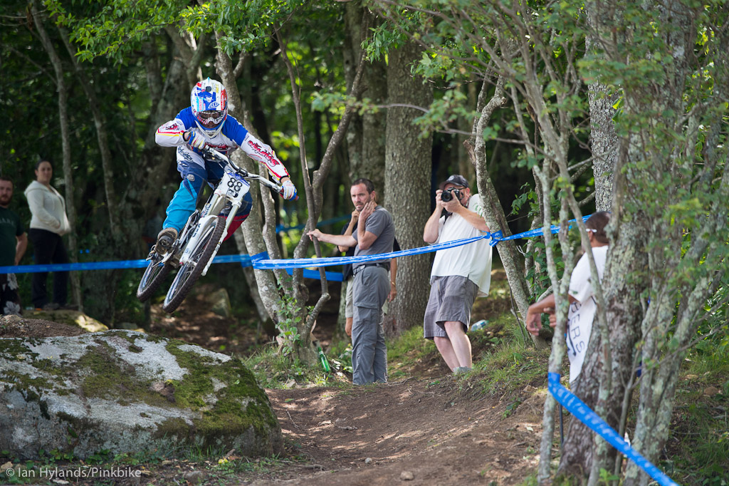 Cole Picchiottino blasting out of the woods. Cole crashed in qualis but kept it together in the final and finished up in second spot in JrX.