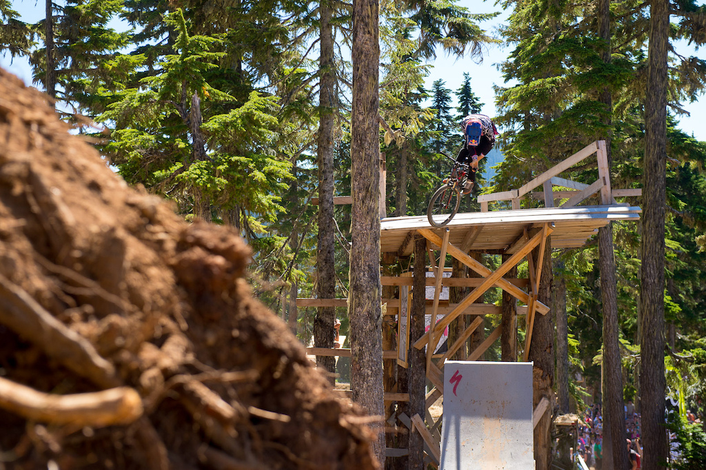 Brandon Semenuk truckdriver up the step up on his way to winning the 2012 Bearclaw Invitational