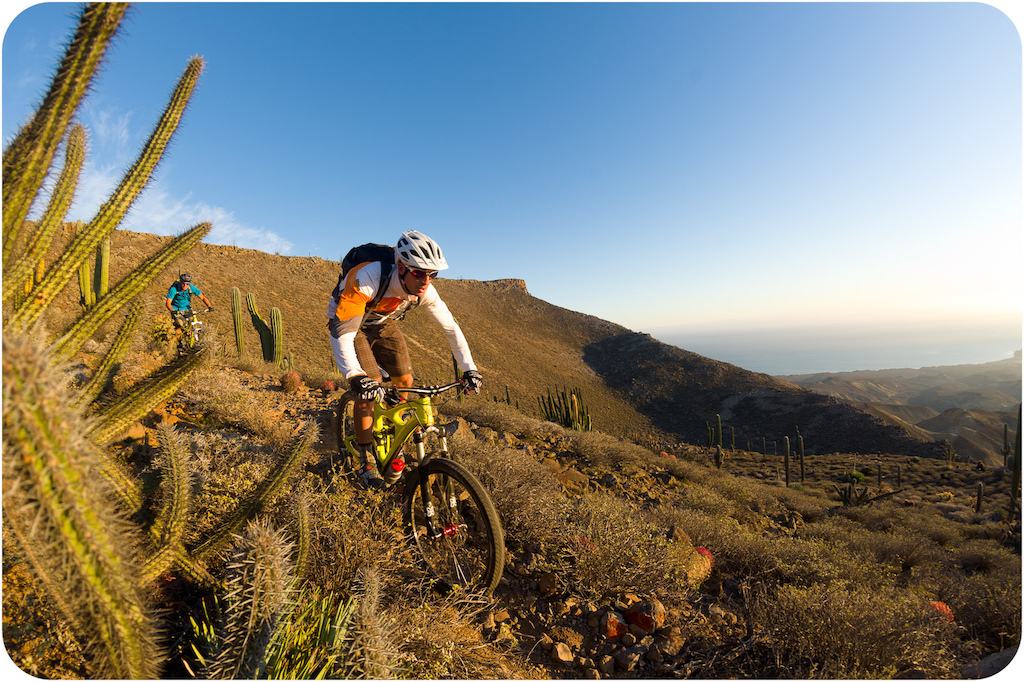 Brian Lopes and Richie Schley ride the mesa trail down through the cactus garden at Punta San Carlos.