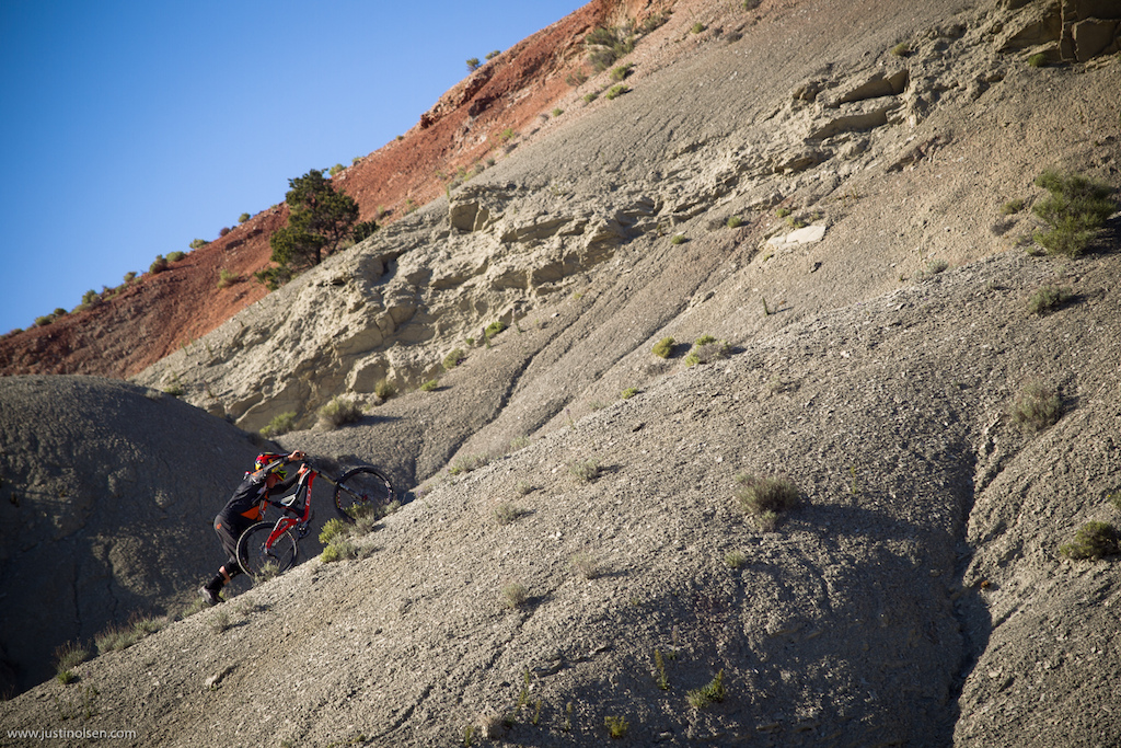 It isn t always helicopters following helicopters... Kyle Strait spent what seemed like 2 hours pushing his bike to the top of this remote Utah line.