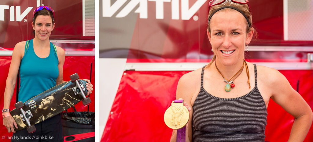 I ran into World Champion Anneke Beerten with her skateboard and Olympic gold medalist Kristen Armstrong both at the SRAM booth today.