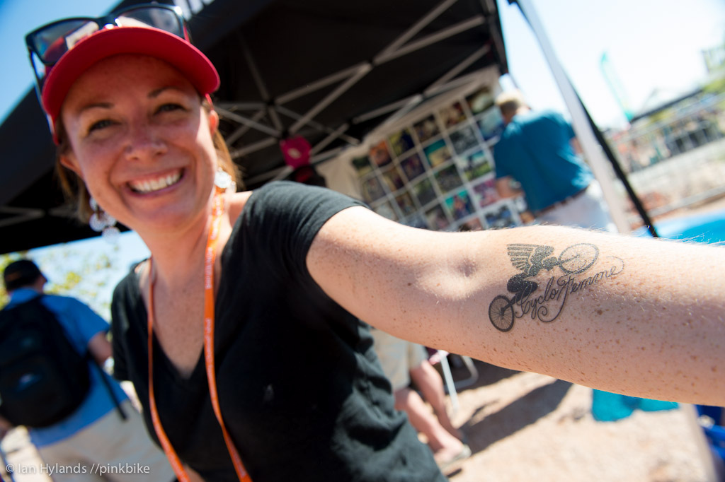 Sarai from Girl Bike Love showing off her CycloFemme tattoo. The CycloFemme motto is all about empowering women through riding...