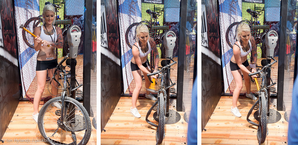 This is a demonstration of what might supposedly happen to your bike if you leave it locked to a post. Which is why you should buy a folding bike and take it inside with you...