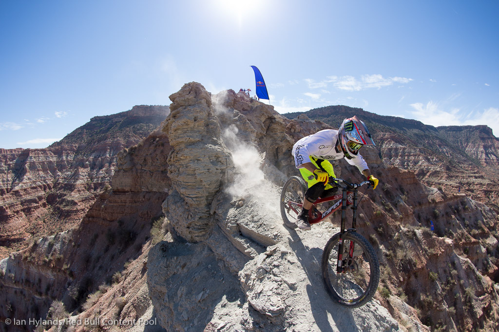 Zink was looking great all day, with some big plans for tomorrow. But then he overjumped the canyon gap and this years Rampage may well be over for him...
