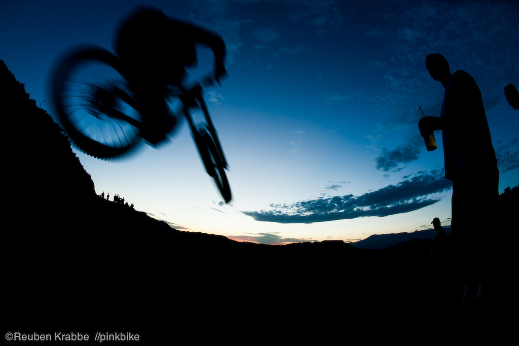 Surviving a day in the sun watching rampage is a spectator sport which requires fortitude and several beers. Here Tyler McCaul shreds past sundown