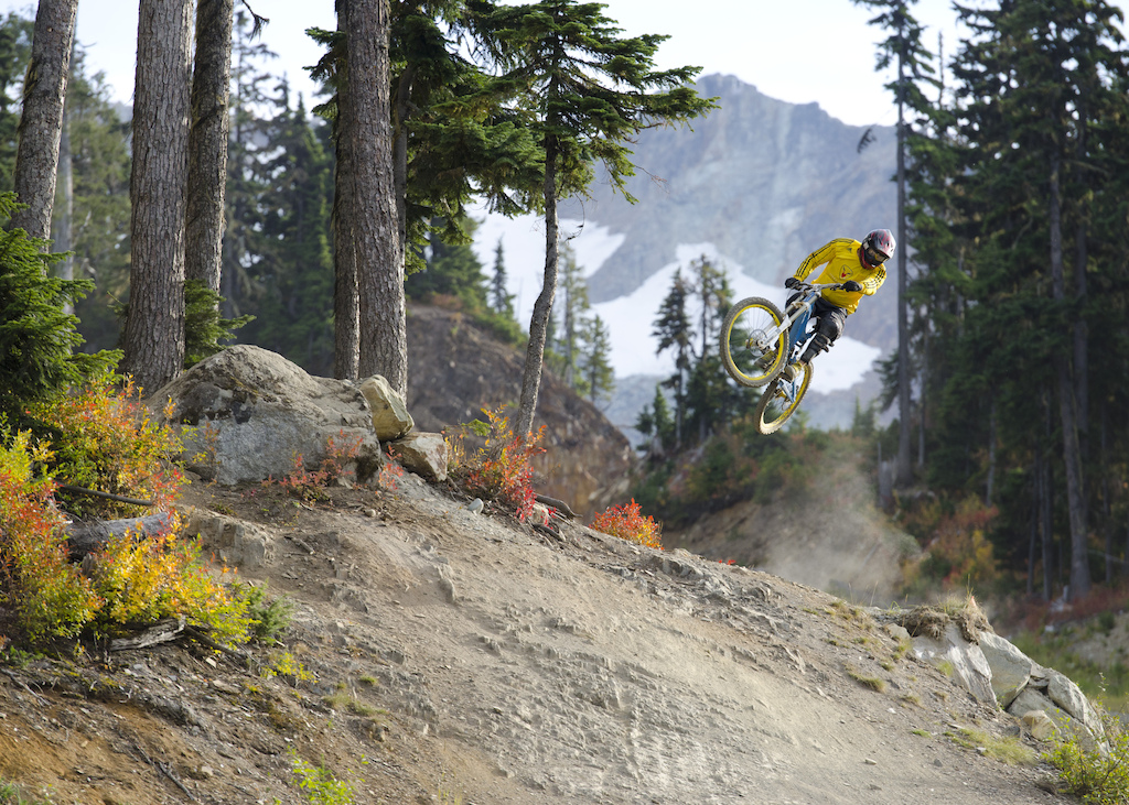 Jimmi styling it up in full fall colors on the closing weekend of the Whistler Bike Park