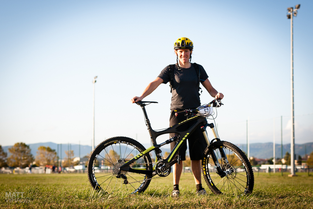 ACC with her Trans-Provence-winning Ibis Mojo DH.
