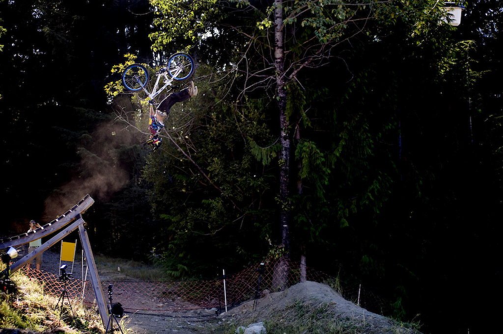 Cameron McCaul doing a superflip during Crankworx in 2008 I think.