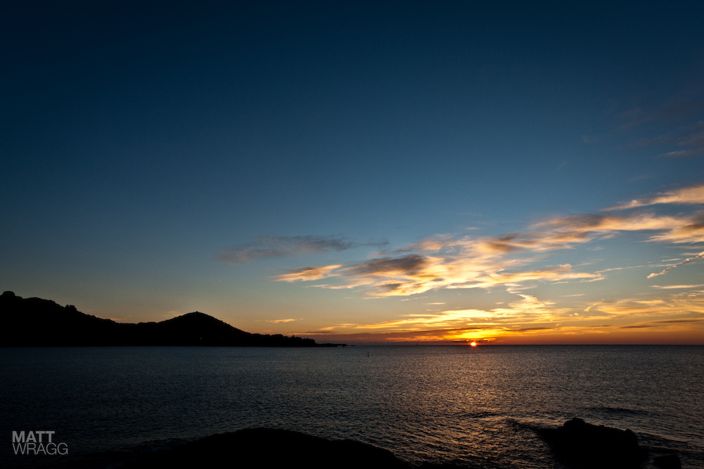The sun rising over the Med