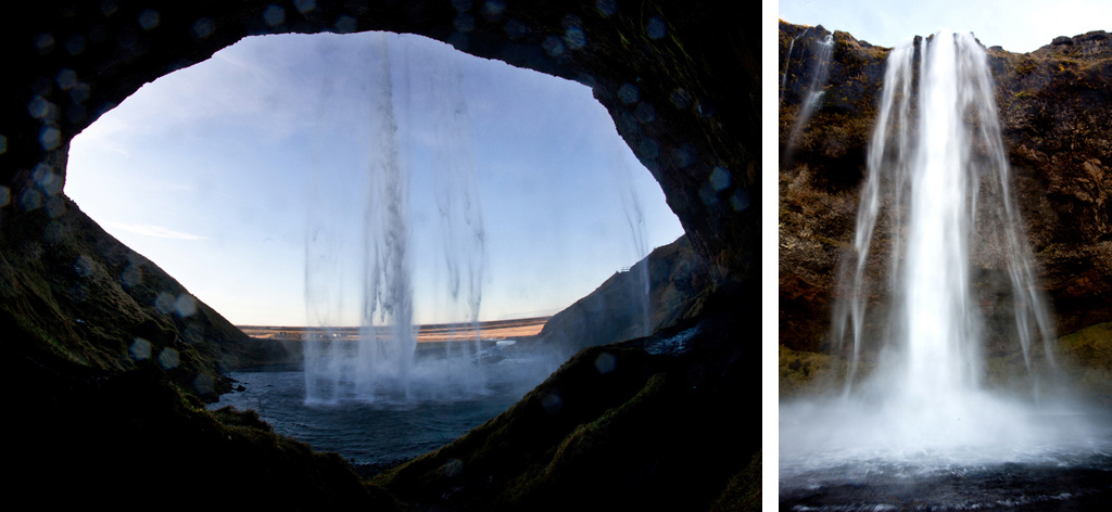 the view with from behind the waterfall