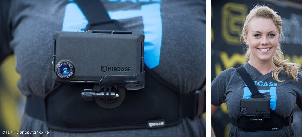 Hitcase was one of the bigger event sponsors. It s an indestructible iPhone case with various mounts. Lauren models the chest mount for us.