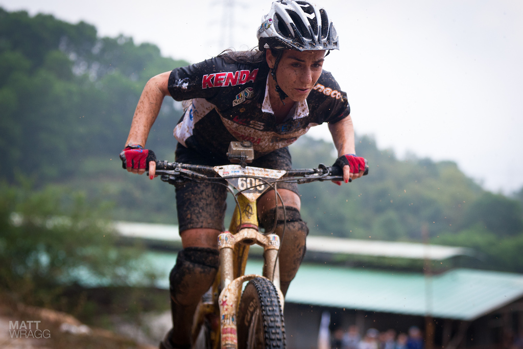 The organisers decided that Valentina Macheda was too fast for the women s race so put here in with the pro men. On her 30lb enduro bike. She more than held her own.