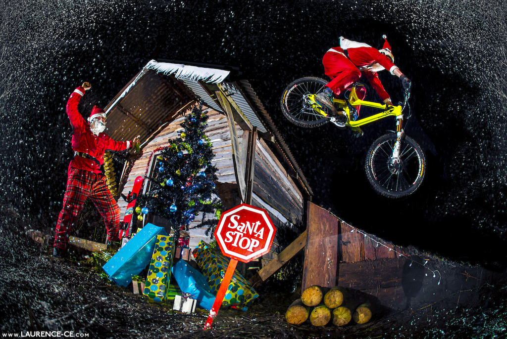 Once again, Bike Santa is just gets the job done delivering all your bike related gifts this Christmas whist Snowboard Santa gets drunk and angry that he cant shred the pow! - Laurence CE - www.laurence-ce.com