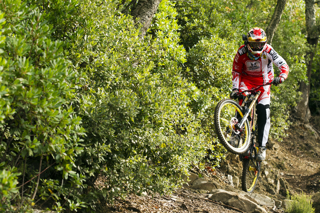 MASSA VECHIA ITALY - 05 November 2013 during the Santa Cruz Bicycles V10 launch with Steve Peat Greg Minnaar and Josh Bryceland Photo by Gary Perkin flipper