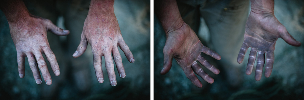 The hands tell the story of a day spent climbing up the Regular NW face of Half Dome in Yosemite.