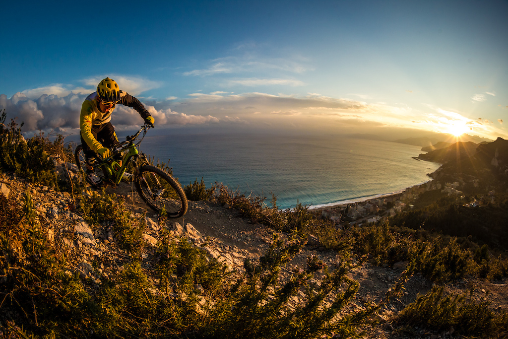 Sunset over Finale Ligure. Photo courtesy of Ale di Lullo Cannondale