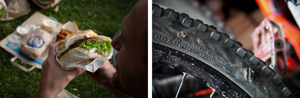 Fergburger and one trashed tyre.
