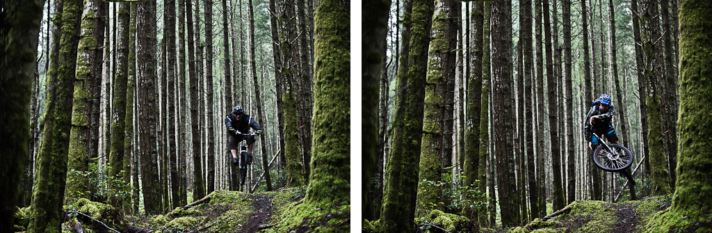Riley McIntosh and Tig Cross each take a try at a perfect mossy jump. Old school vs new school.