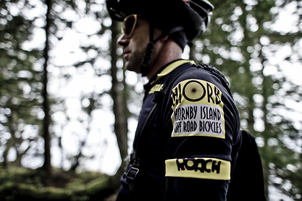 Sasha Lebaron wearing an old school Hornby Island Off Road Bicycles jersey.