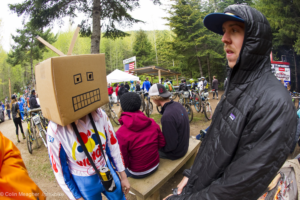 Uh... WTF Paris Gore confronted by the Robot Wonder Bread racer.