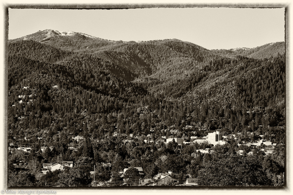 The little hamlet of Ashland the downtown area at the lower left sits below Mt Ashland just miles from the Oregon California border.