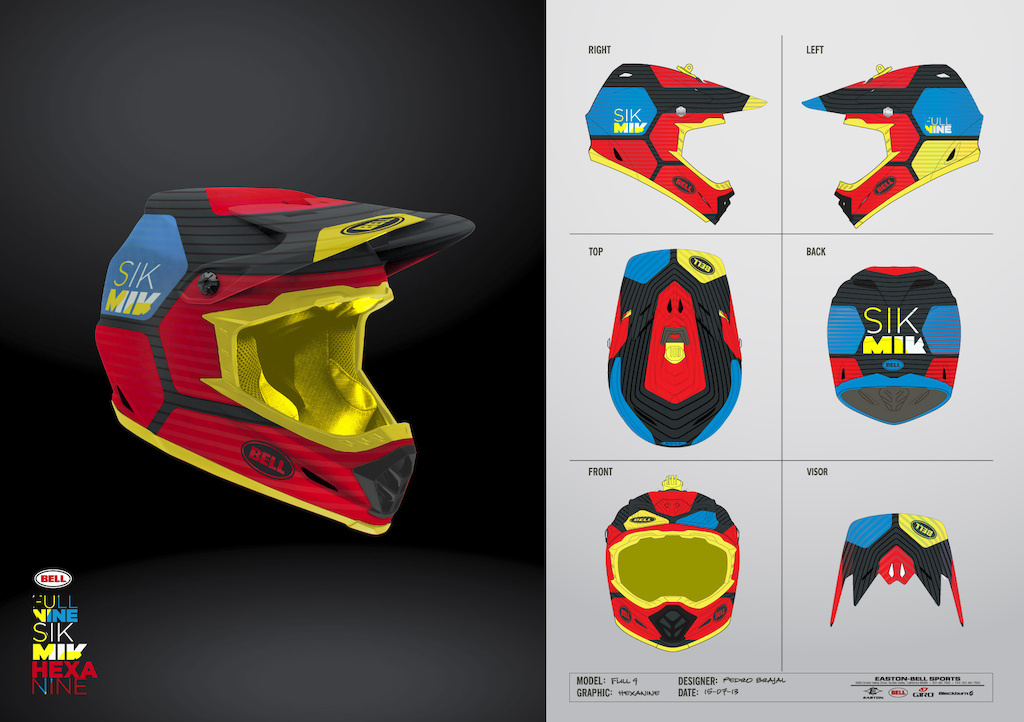 Inspired by the little brother Super one of my favorite helmet designs this graphics are a contemporary geometric approach clean and simple but original and catchy. It s name is Hexanine a combination of hexagon and nine from Fullnine product name. I ve produced 3 color variations with future production in mind two random trend colors and a team scheme color for Mick. Thanks Pedro Brajal