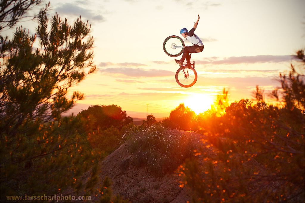 Kirill found this natural dirt jump while checking out the area close to Tudela. Tuck nohander into the evening sky...