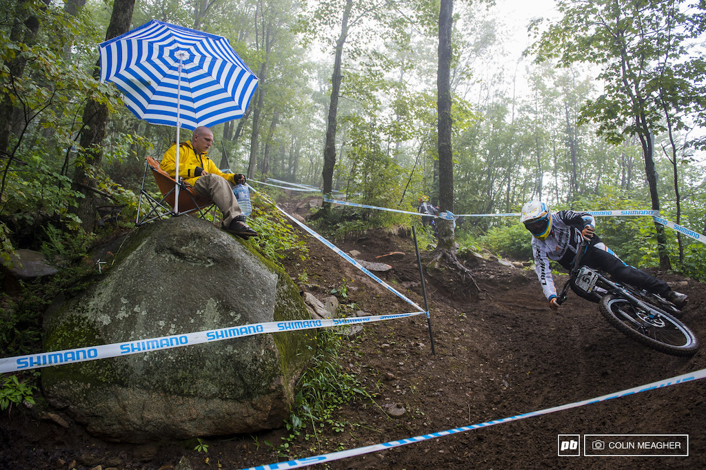 Loic Bruni railing in the woods for an audience of one.